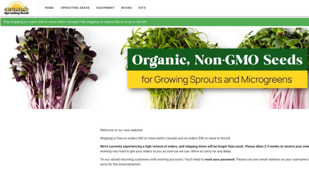 Mumms Sprouting Seeds Online