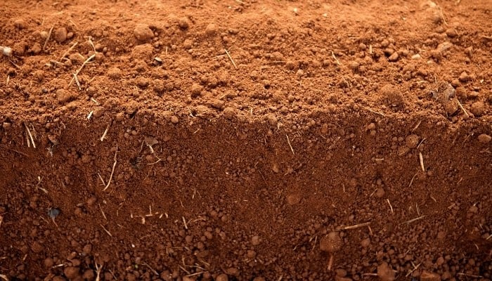 A close up of several layers of red clay soil.