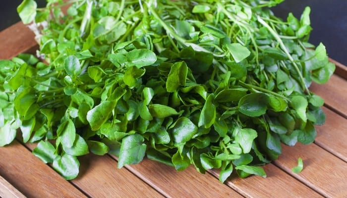 A heap of fresh watercress on a cutting board with wood slats.