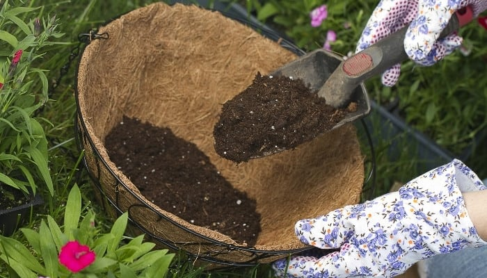 A lady with gardening gloves scooping potting soil into a a hanging basket.