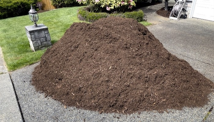 A pile of fresh topsoil in a driveway of a well-manicured yard.
